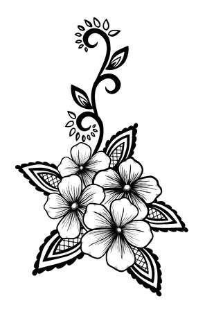 Stock Photo Tattoo Dessin Floral Dessin Fleur Et Dessin