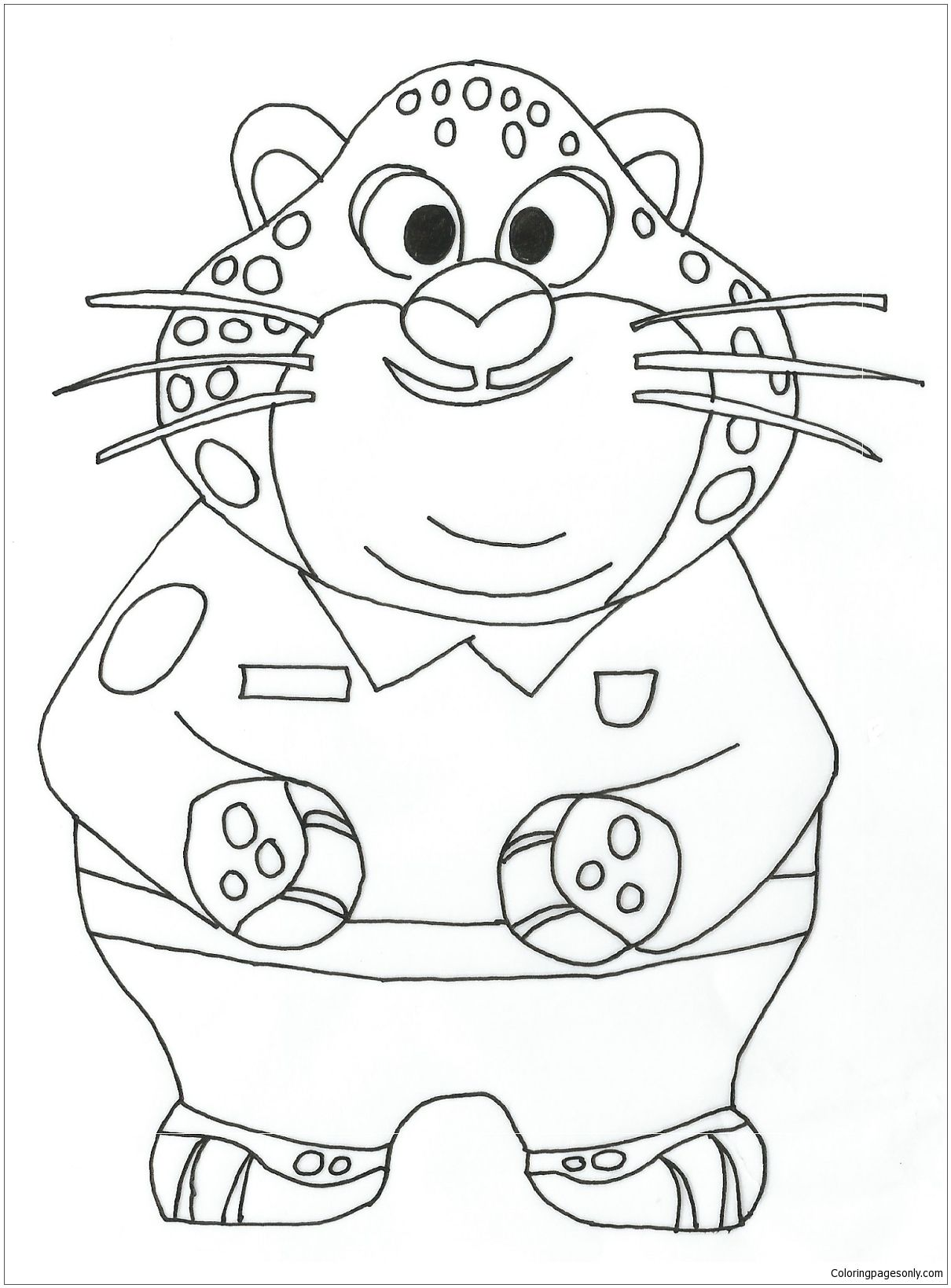 Benjamin Clawhauser Zootopia Coloring Page Zootopia Coloring Pages Cartoon Coloring Pages Coloring Books