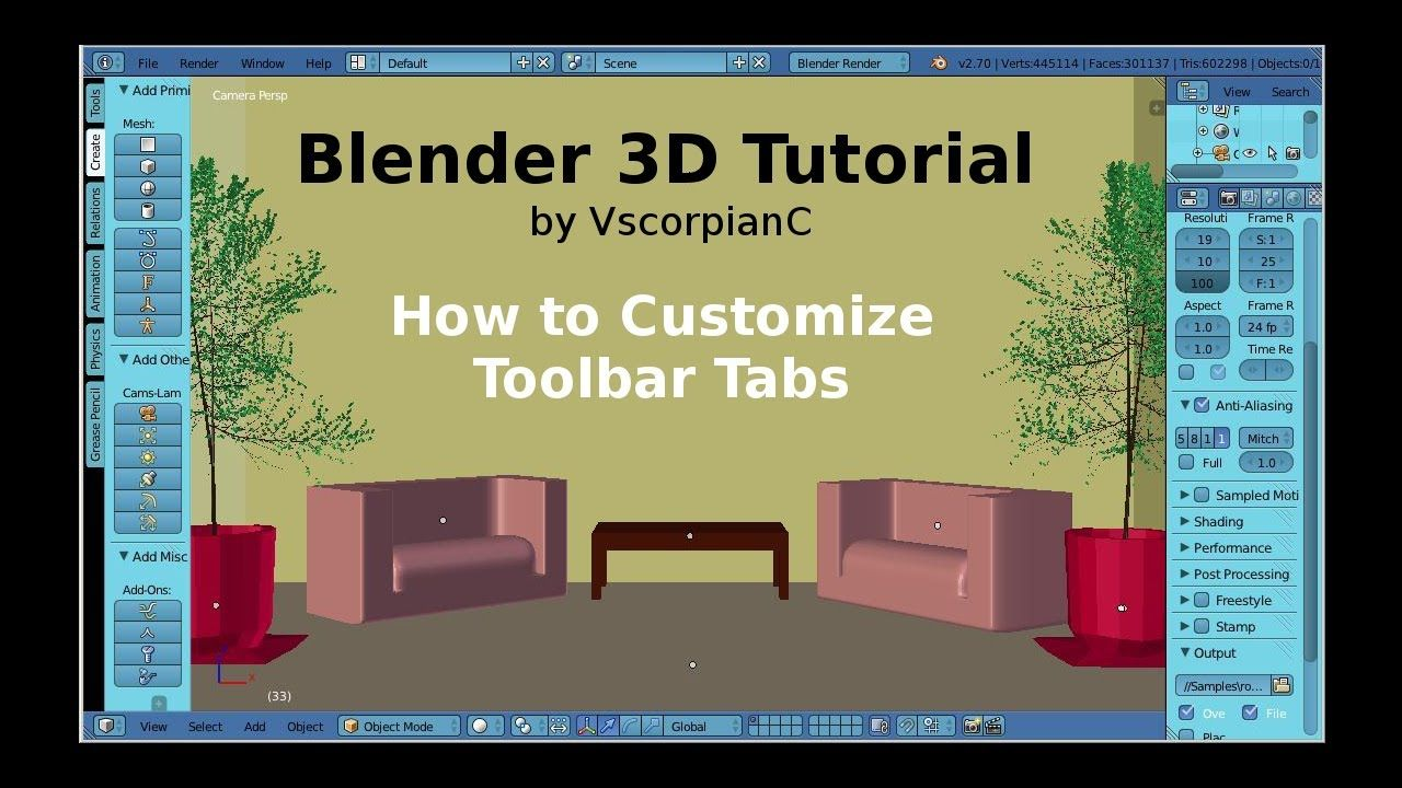 Blender 3D Tutorial Tool Shelf, Customize Toolbar Tabs