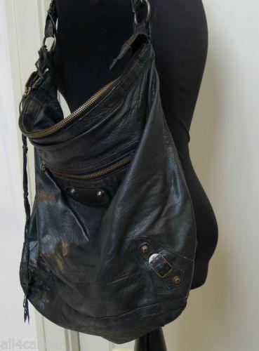 38714aa77660 BALENCIAGA HOBO DAY BAG BLACK BRASS - 2005 CHEVRE LEATHER VERY GOOD  CONDITION
