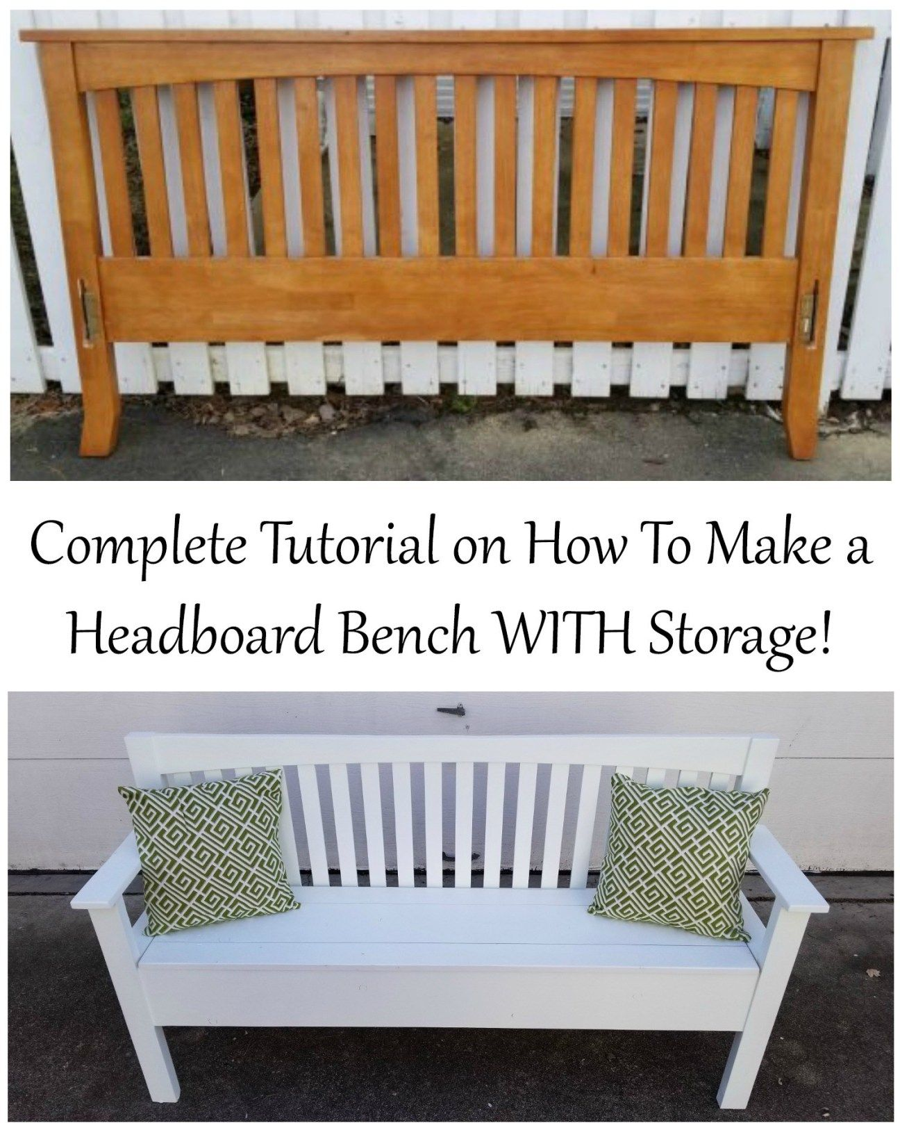 Mission Style Headboard Bench with Storage Headboard