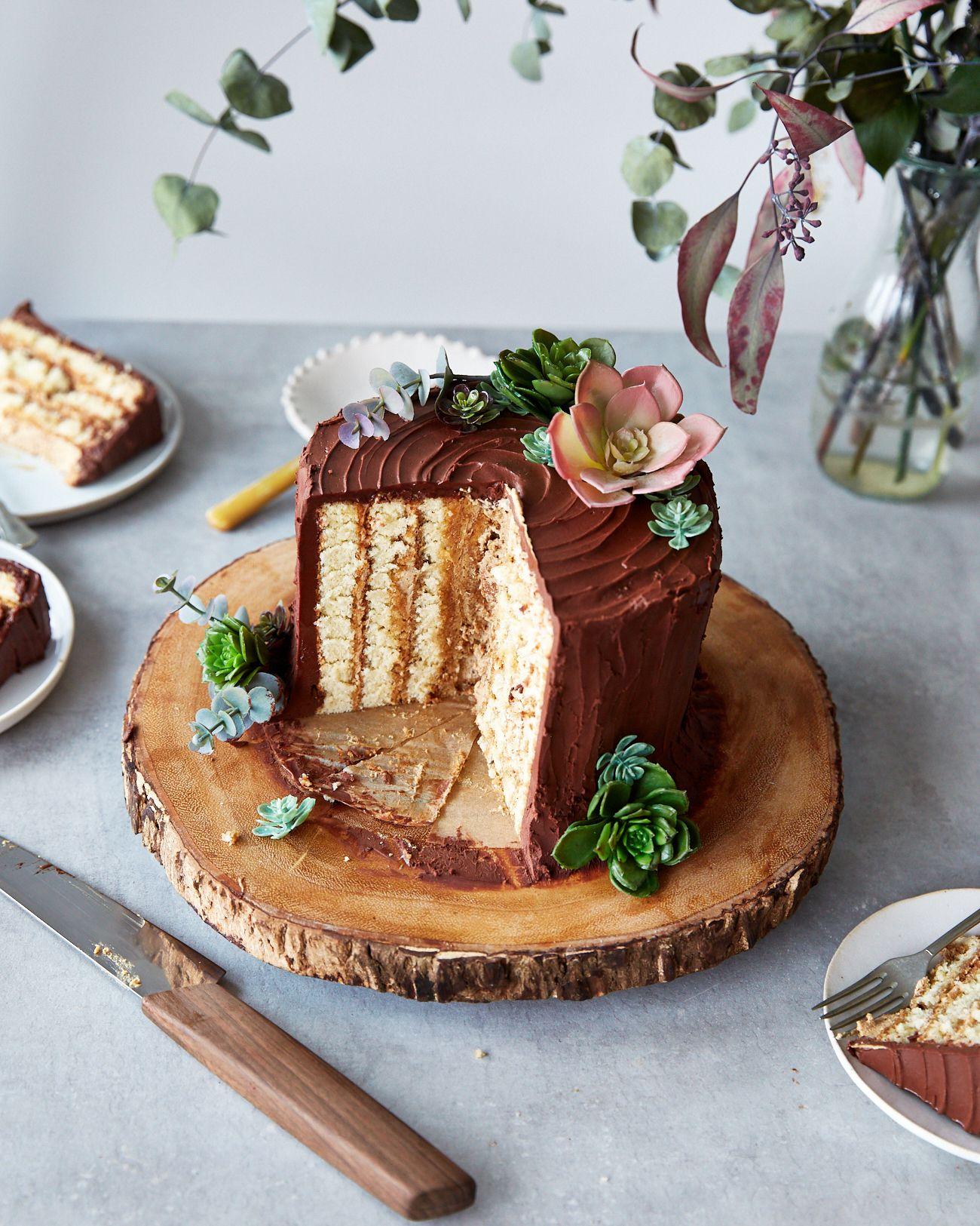 Vertically Layered Chocolate Yule Log Recipe Tree
