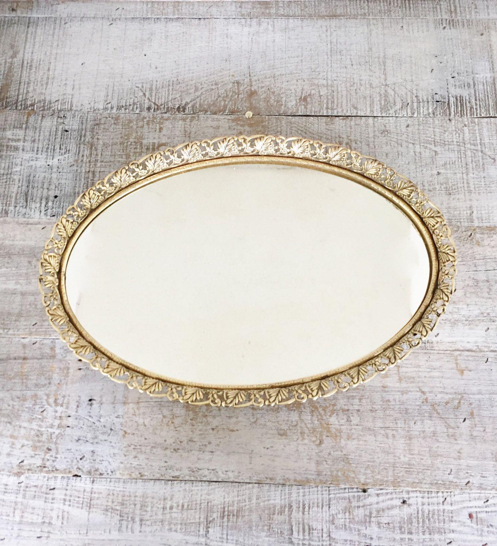 Vanity Mirror Vintage Large Gold Oval Dresser Tray Top