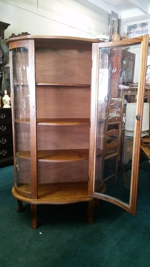 Antique Curio Cabinet Rox 1930s 40s Solid Oak Construction Excellent Condition