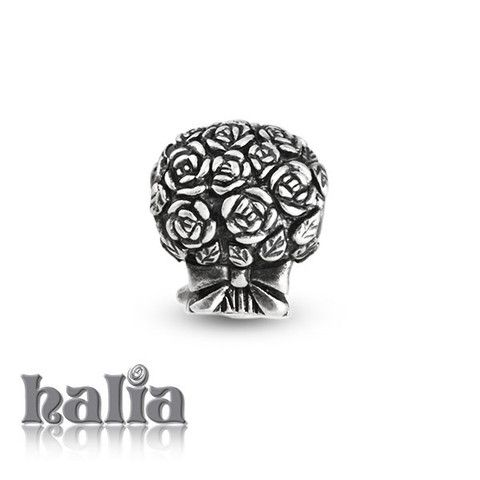Bouquet: Bouquet of flowers bead: designed exclusively by Halia, this bead fits other popular bead-style charm bracelets as well. Sterling silver, hypo-allergenic and nickel free.   $35.00