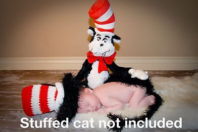 Dr Seuss Cat In The Hat Crochet Knit Newborn Infant Photo Prop Costume on eBay!