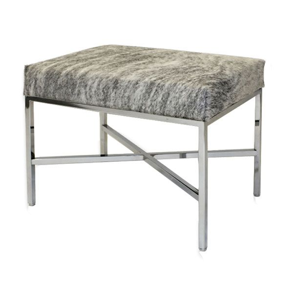 Cowhide Bench Our Hair On Cowhide Bench Is Available In Nine Different Hide Options The Firm Upholstered Seat Is Attache Cowhide Bench Metal Bench Low Stool