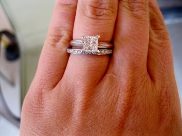 Solitaire Princess Cut Diamond Knife Setting And That Wedding Band Yes Please