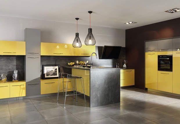 Cuisine Moderne Jaune meubles de cuisine en couleur