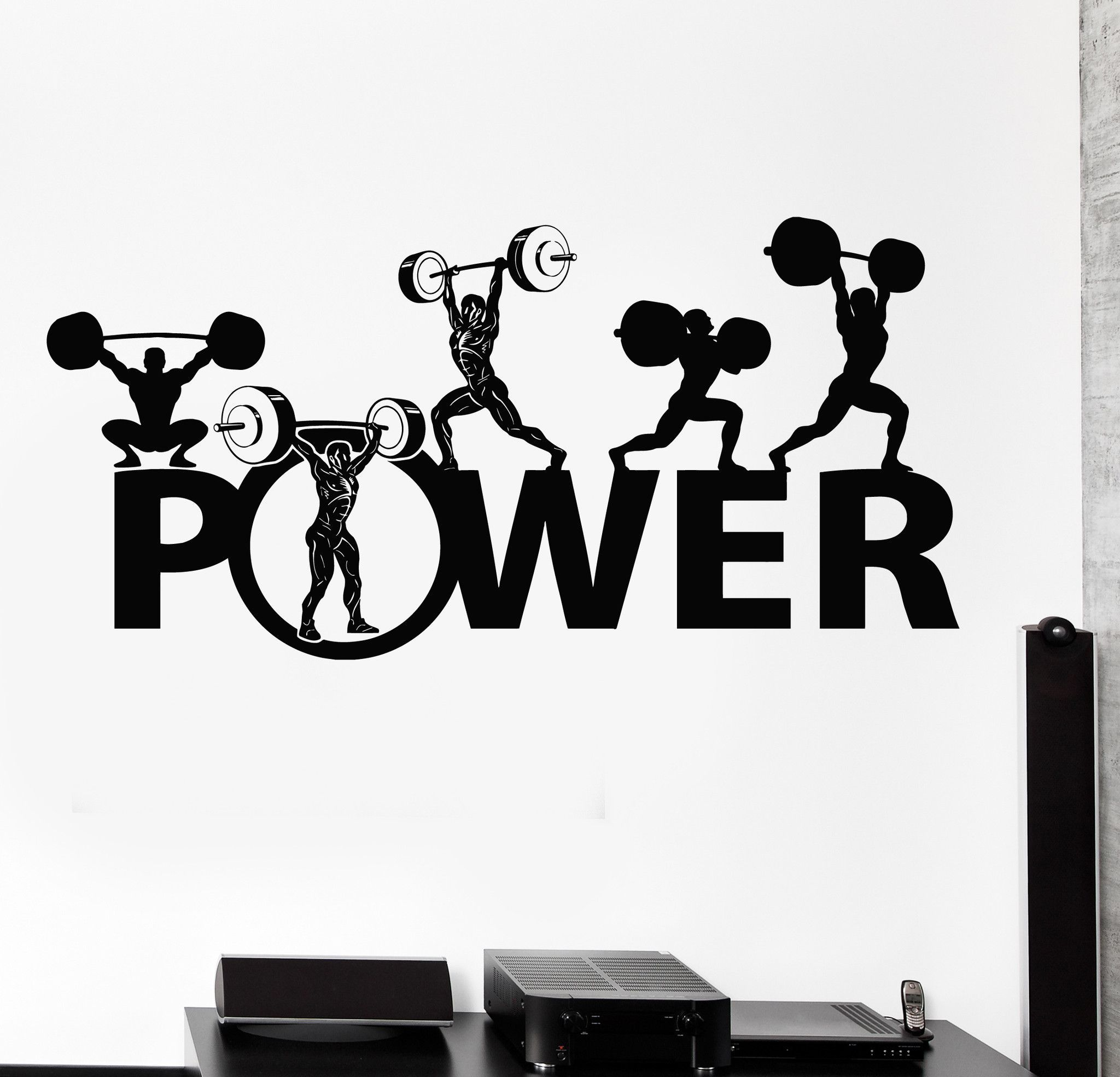 Wall Vinyl Decal Powerlifting Bodybuilding Sport Barbell Home Interior Decor Unique Gift Z