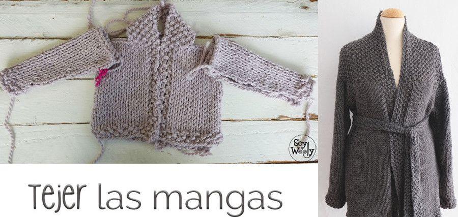Cómo tejer las mangas de una chaqueta bebé-adulto | Cómo tejer, La ...
