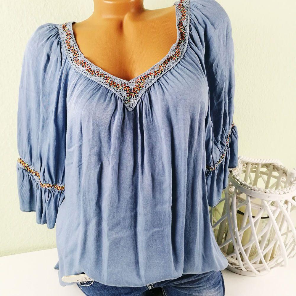 Italy tunika bluse damen bohemian ibiza hippie blau - Hippie bluse damen ...