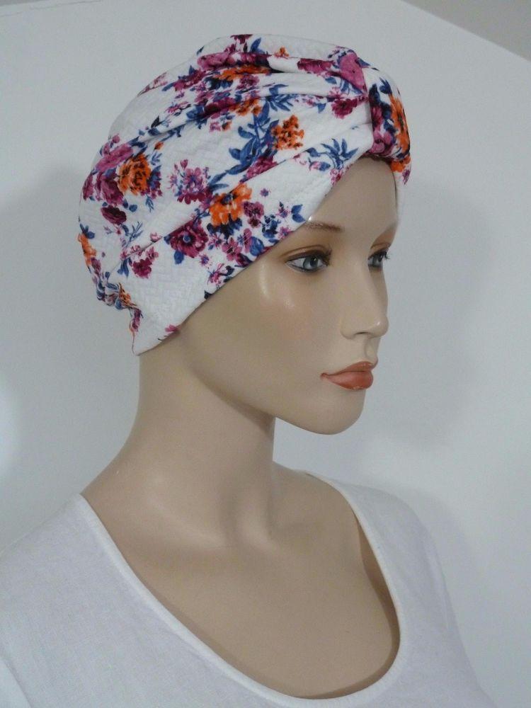 acd5a04cfaa Advanced style cream floral print cloque soft touch summer turban hat chemo  hat  whitebagheera