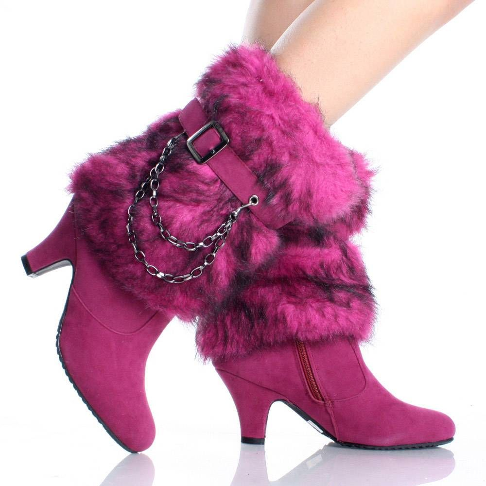 hot boots | Womens Winter Boots Snow Mukluk Mid Calf Faux Suede Pink High Heels ...