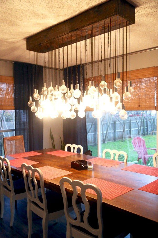 A couple ties 80 lights to a wood boxand look at her dining room this project is my absolute favorite thing my husband and i have ever created its the absolute focal point of our entire downstairs and it never fails mozeypictures Image collections