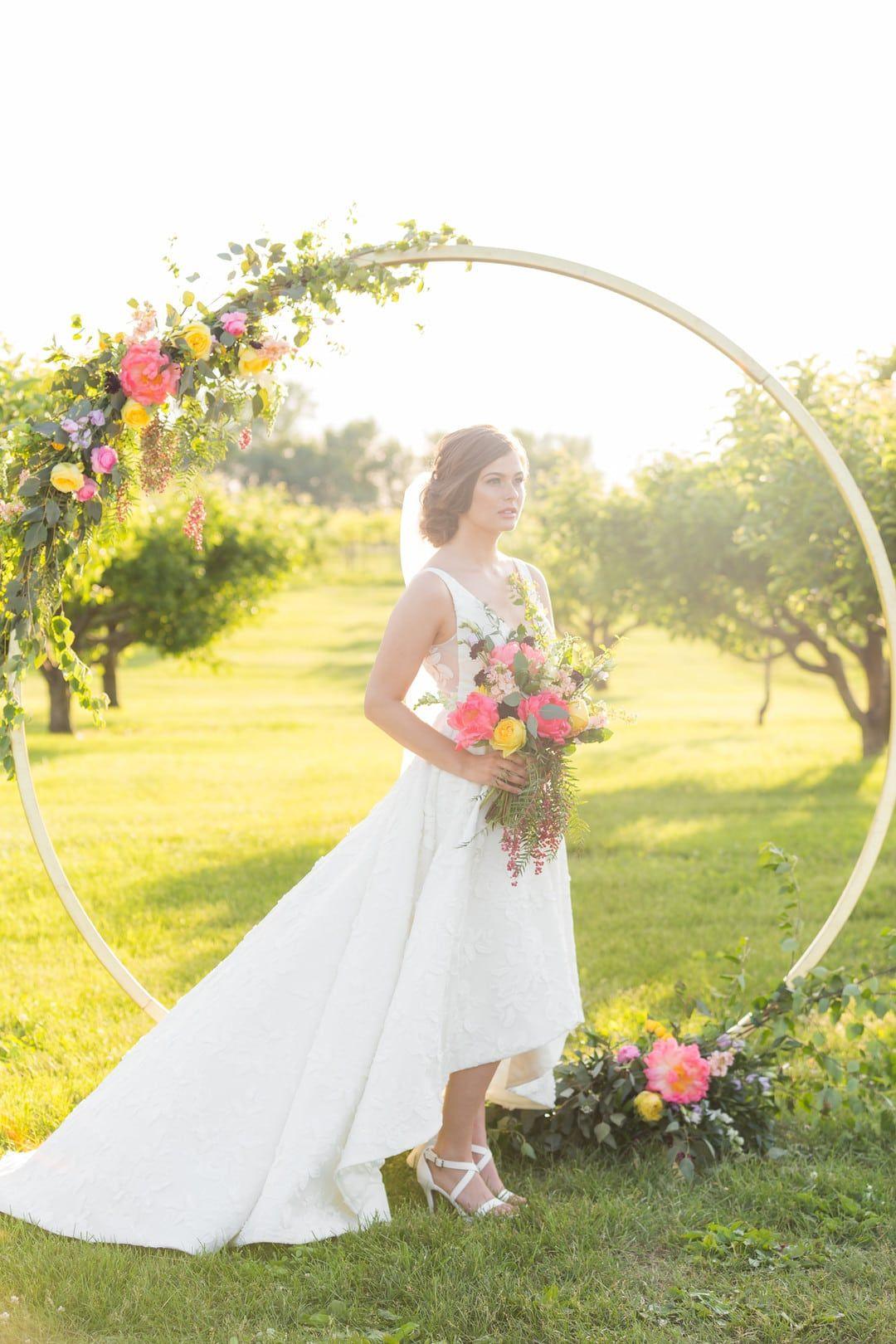 Styled shoot colorful summer vineyard wedding wedding gowns