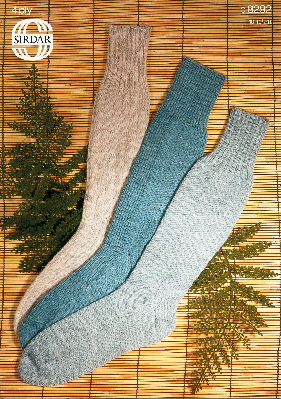 mens 4ply socks knitting pattern PDF long socks ribbed 10-11 inch ...