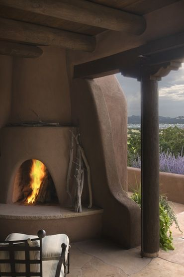 Outdoor Kiva Fireplace Las Campanas South Western Architectural Details Rustic Architectural Detail Porch Modern Rustic Design Outdoor Outdoor Fireplace