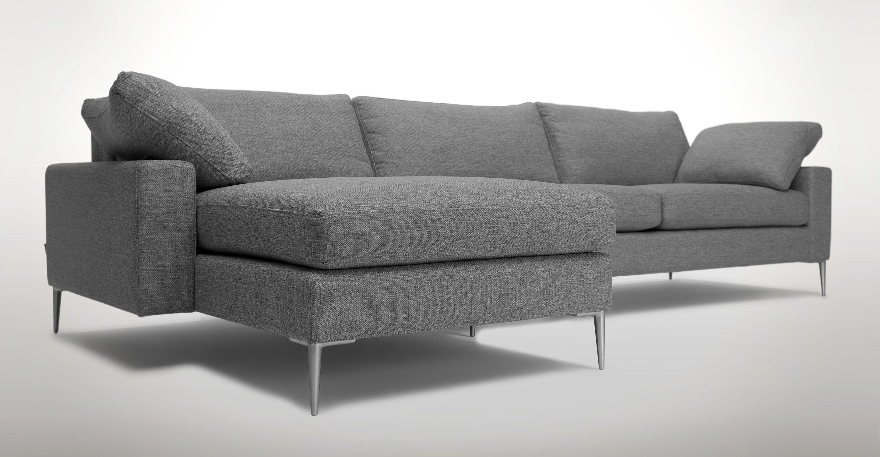 Light Gray Left Sectional Sofa Upholstered
