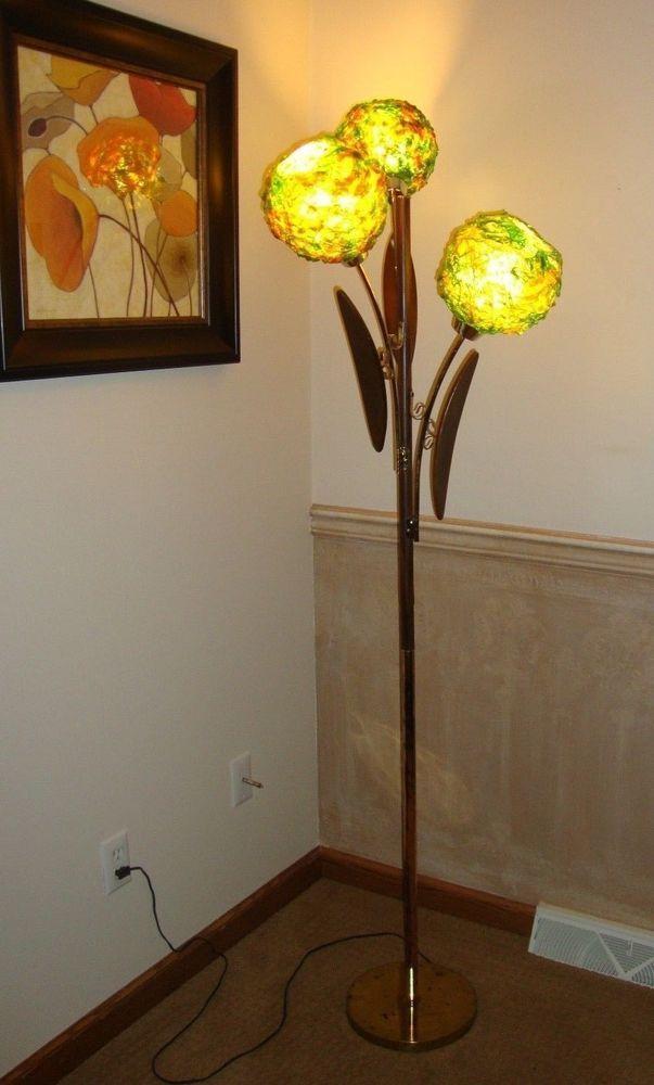 Vintage Lucite Ribbon Floor Lamp Green Shades Mid Century Atomic Retro Majestic Vintage Lucite Shades Of Green Mid Century Lamp