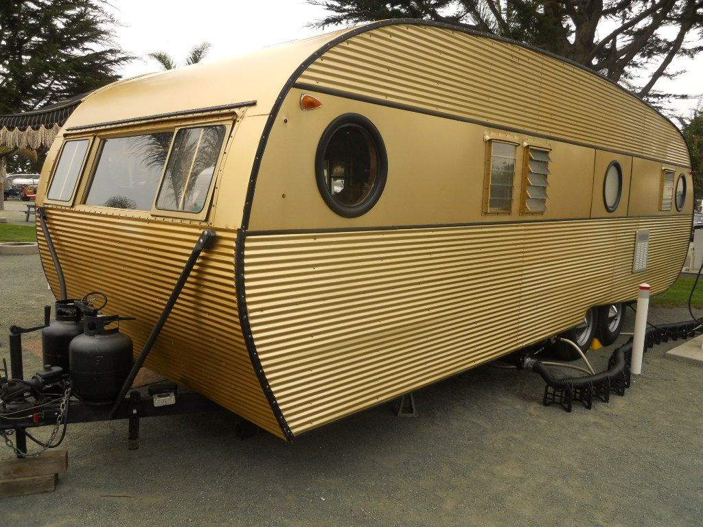 1957 airfloat cruiser vintage trailer with beautiful gold anodized aluminum exterior siding