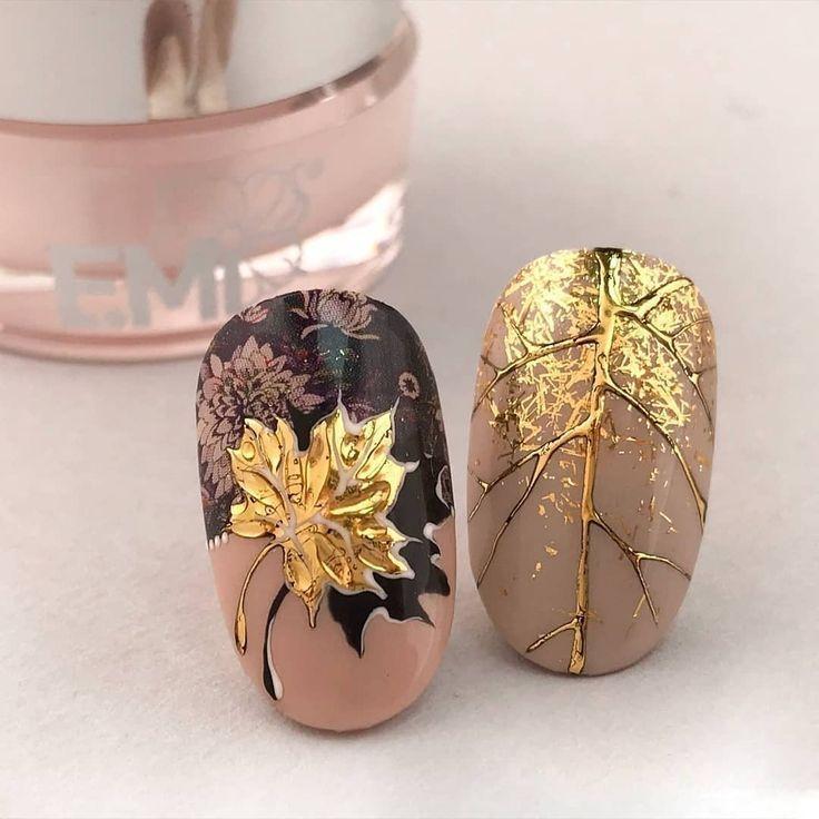 maple leaf autumn nail idea - New Ideas #ideisuper