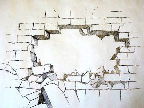 how to draw a cracked brick wall❤ youtube video tutorial