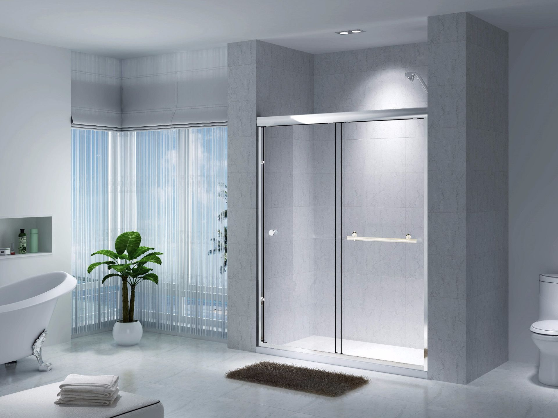 Creative Series Semi-frameless sliding bathtub doors 59.5x 71 3/16 ...