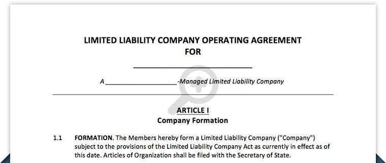 Free Llc Operating Agreement Northwest Registered Agent Limited Liability Company Agreement Sole Proprietorship