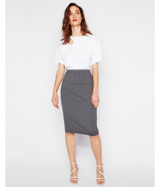 4a8800412 High Waisted Striped Clean Front Pencil Skirt Gray Women's XL ...
