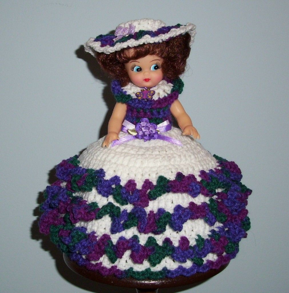 Fibre craft air freshener dolls - Air Freshener Crochet Patterns Free Air Freshener Toilet Tissue Cover Doll Crochet White With Variegated