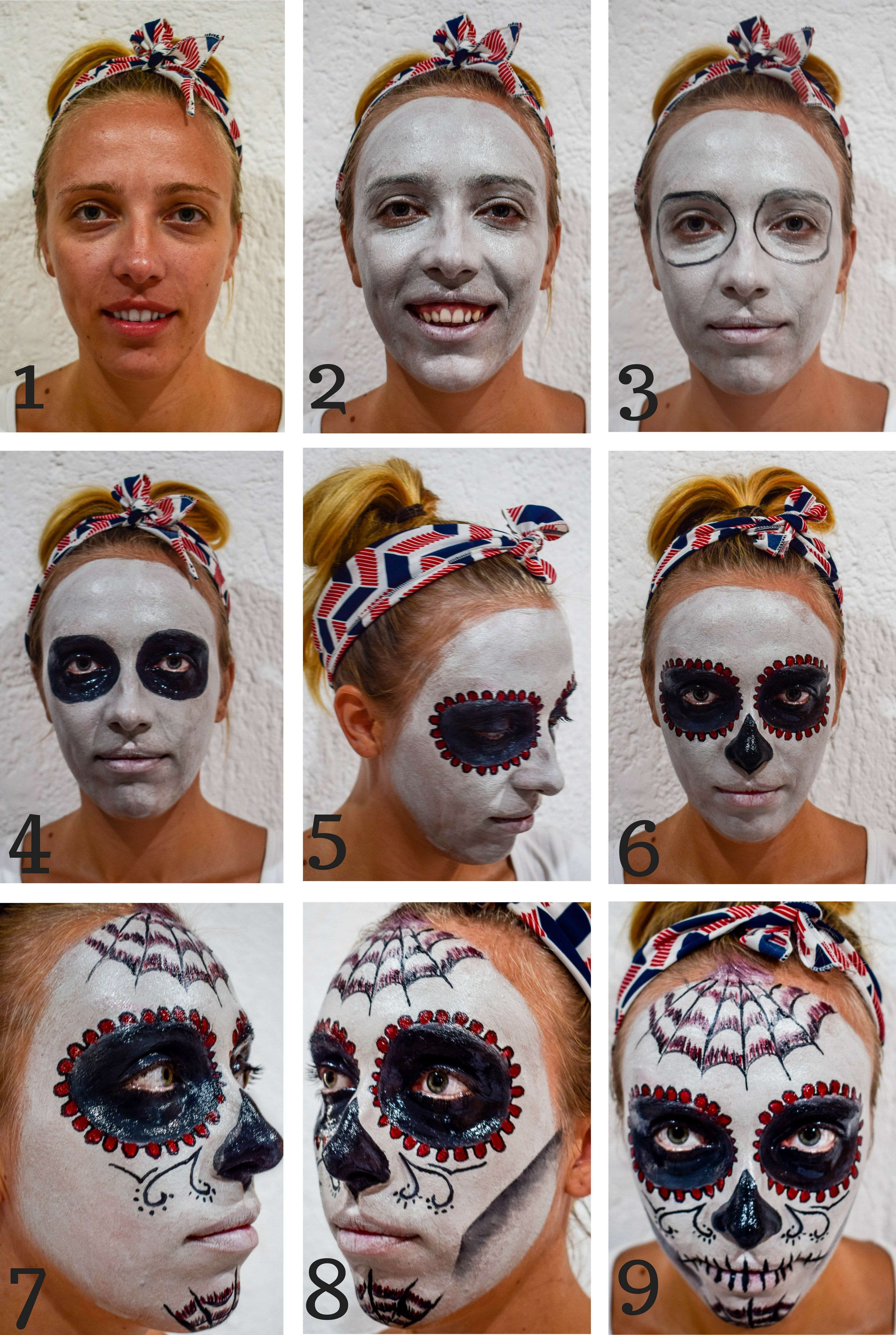Quick Day Of The Dead Skull Mask Tutorial For Travelers The Travel Leaf Halloween Makeup Diy Day Of Dead Costume Dead Makeup