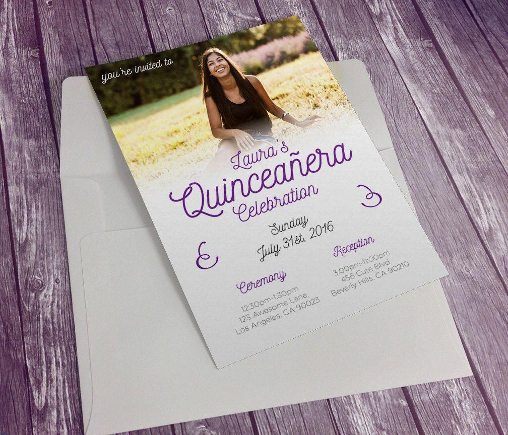Custom printable quinceanera invites