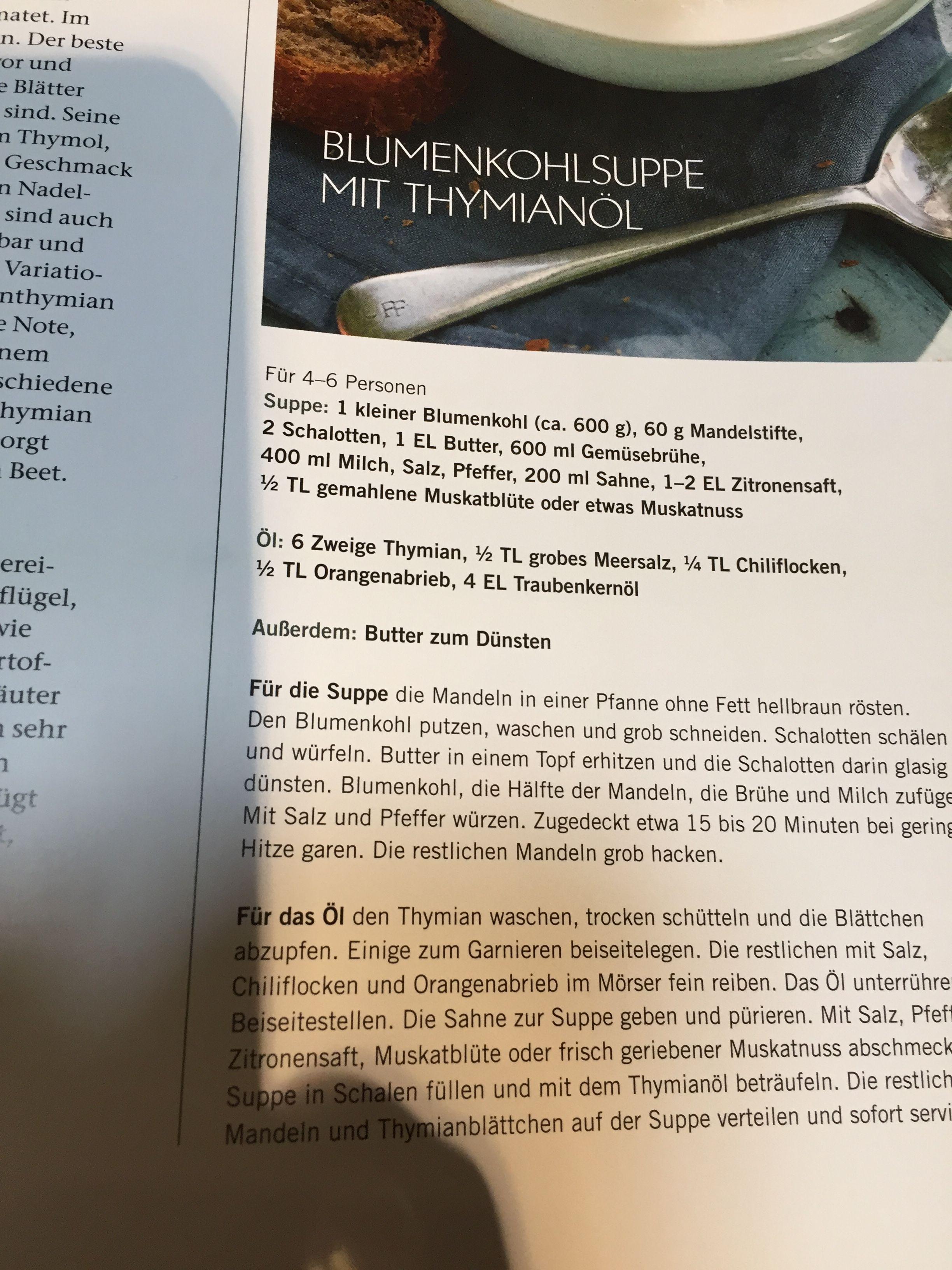 Pin Von Adelheid Bittdorf Auf Suppe Schalotten Blumenkohlsuppe Suppen