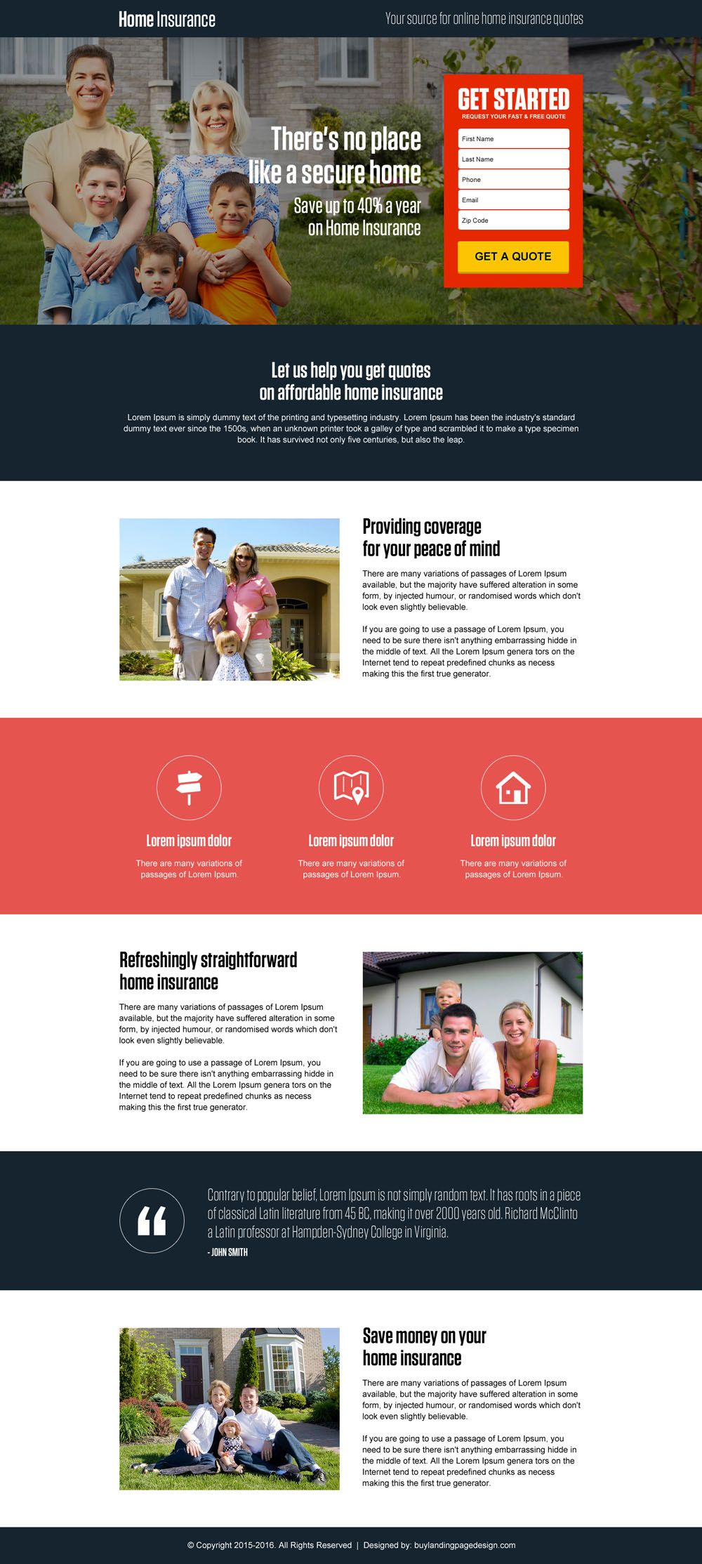 House Insurance Quotes Secure Online Home Insurance Responsive Landing Page Design  Home .