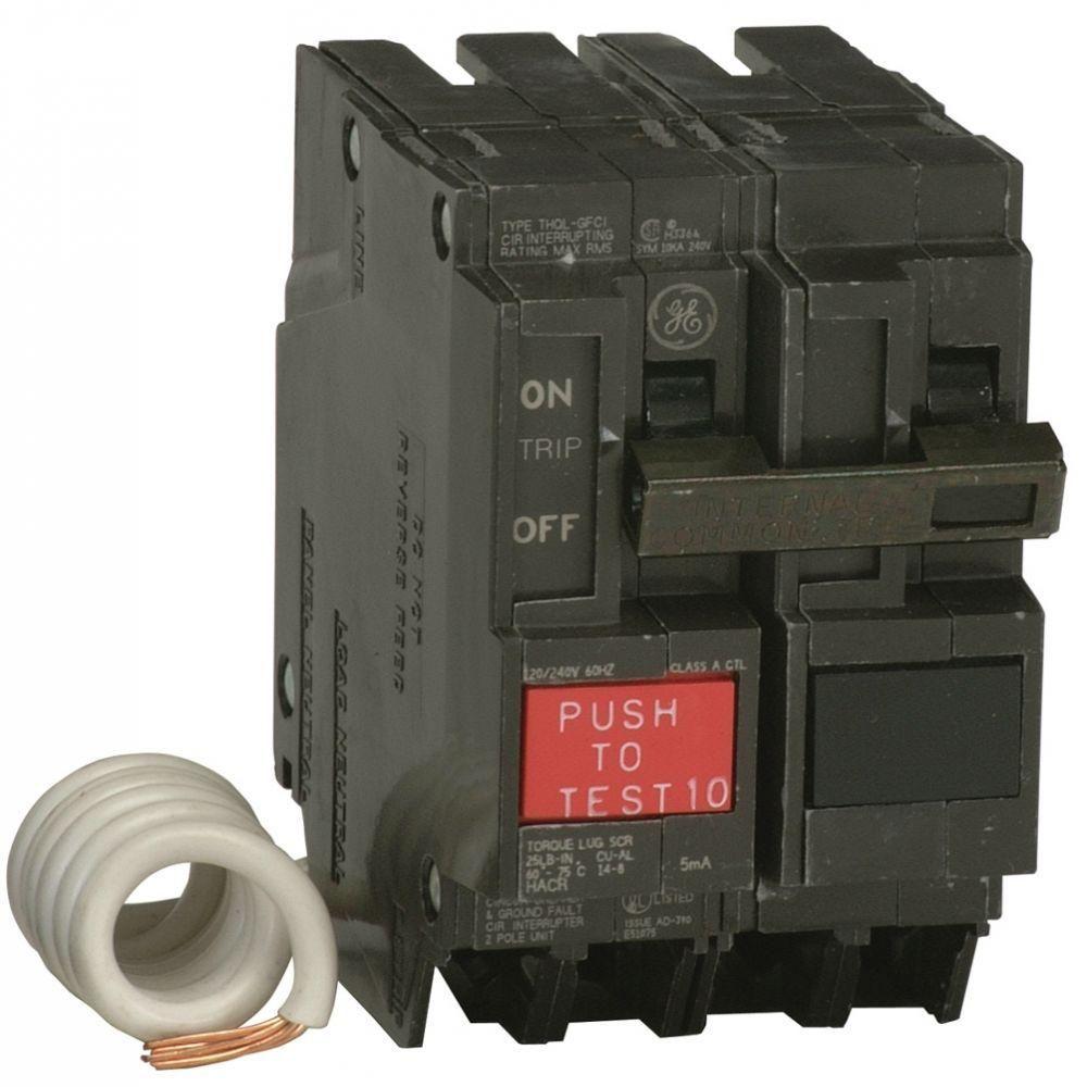 Ge Q Line 20 Amp 2 1 4 In Double Pole Gfci Circuit Breaker