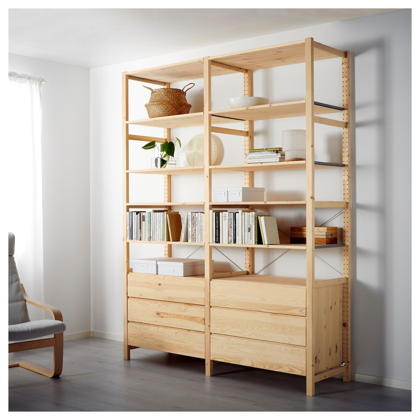 brand new 125d2 7b65a IVAR 2 section shelving unit with chest - pine | furniture ...