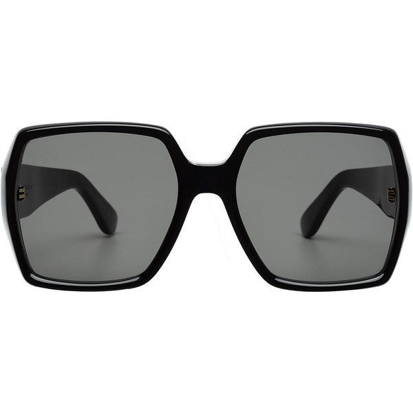 279ffac36e5d Saint Laurent Square Sunglasses (1,130 SAR) ❤ liked on Polyvore featuring  accessories, eyewear, sunglasses, black, oversized sunglasses, oversized  eyewear, ...