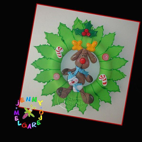Corona de navidad manualidades navidad foamy gomaeva - Manualidades de navidad con goma eva ...