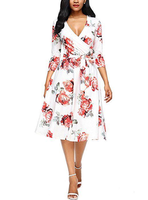 Casual V Neck 3 4 Sleeves Faux Wrap Floral Print Midi long Dress with Belt c6f17de3e