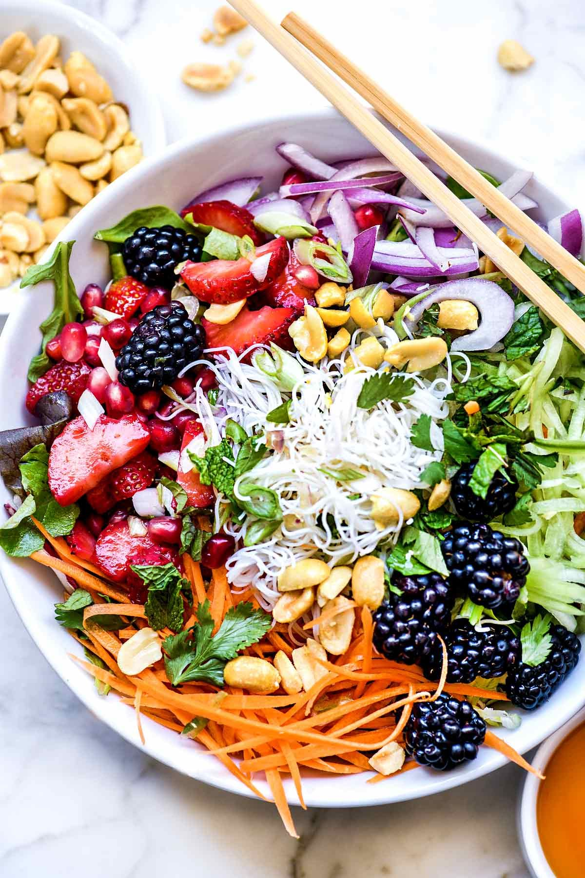 Photo of Vietnamese Rice Noodle Salad Bowls with Berries
