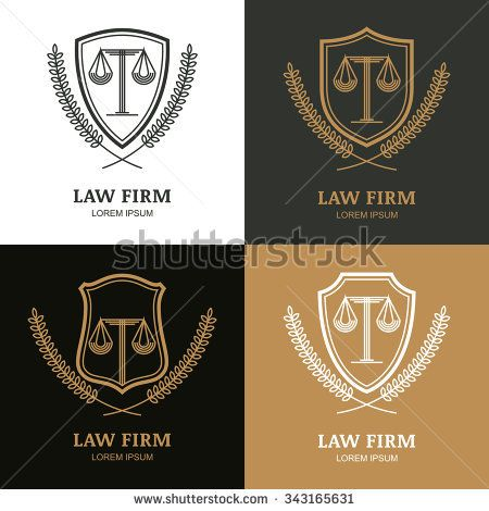 Set of vector linear vintage law firm logo template. Trendy abstract ...