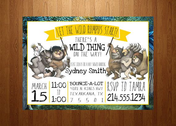 5x7 where the wild things are baby shower invitation by ssddesign,