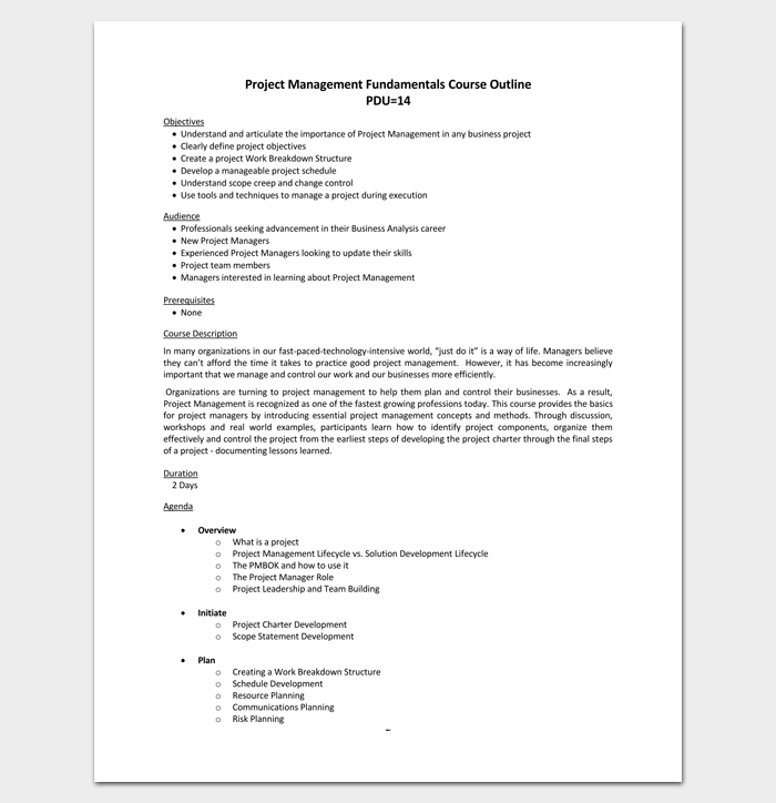 Project Management Course Outline  Outline Templates  Create A