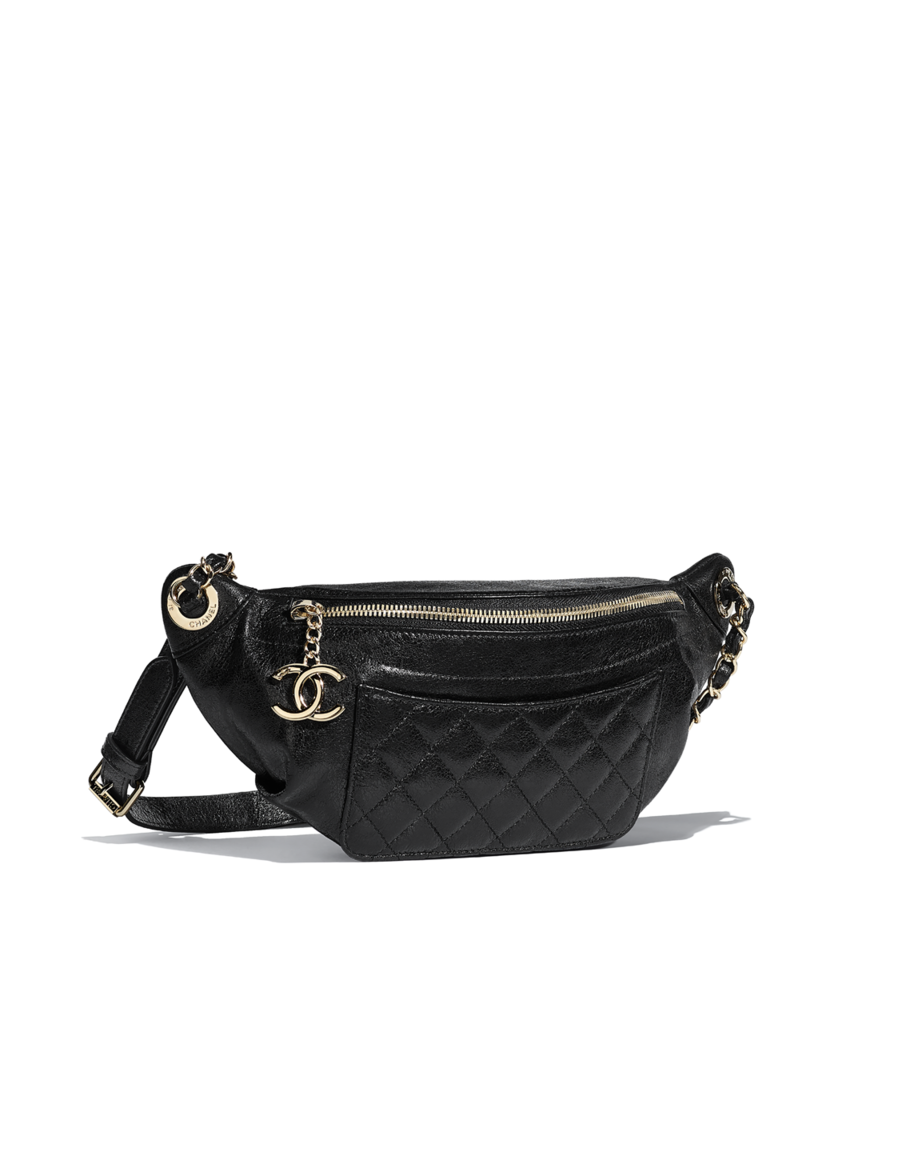 16d71a733852 Waist bag, crumpled lambskin & gold-tone metal-black - CHANEL | My ...