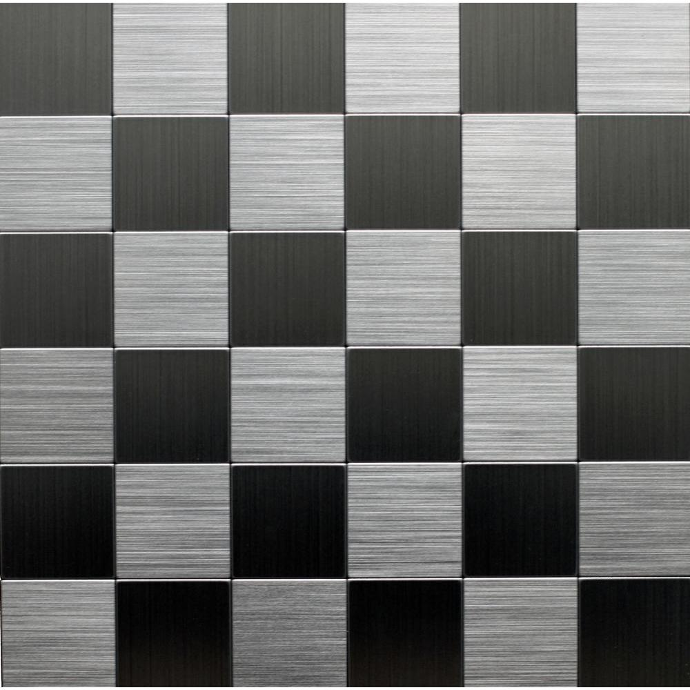 Instant Mosaic 12 In X 12 In Peel And Stick Brushed Stainless Metal Wall Tile Ekb 03 104 The Home Depot Metallic Wall Tiles Instant Mosaic Metallic Backsplash