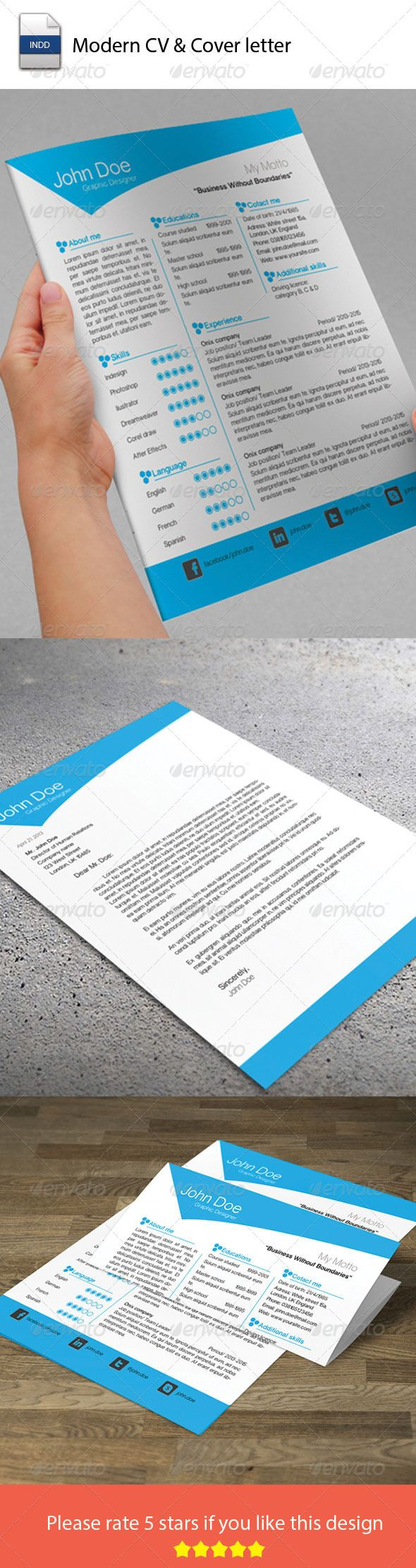 Template For A Cover Letter For A Resume%0A Modern CV  u     Cover Letter