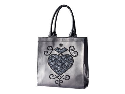 Cabas 56 by Pascale Théard  Pearls and sequins hand embroidered leather bag