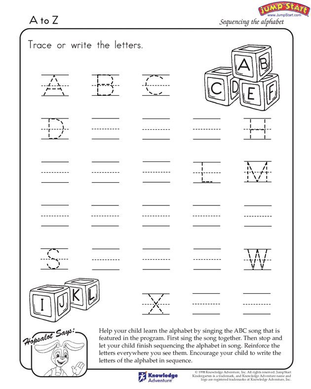 A-to-Z - Printable English Worksheet for Kids | nursery games ...
