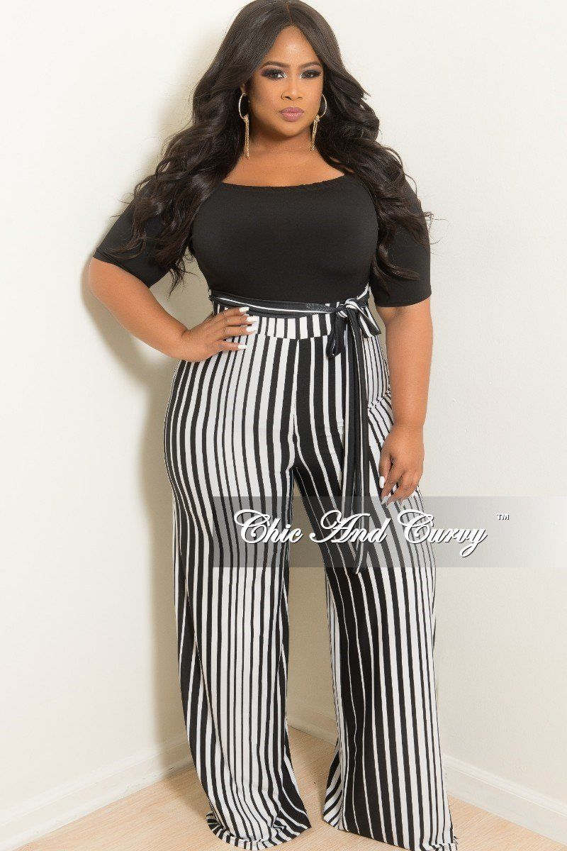 e74d62023a2 Plus Size Off the Shoulder Stripe Jumpsuit with Attached Tie – Chic And  Curvy